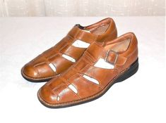 Johnston & Murphy Brown Leather Fisherman Sandal Shoe Made in Brazil Men's 9.5 M #JohnstonMurphy #FishermanSandalShoe