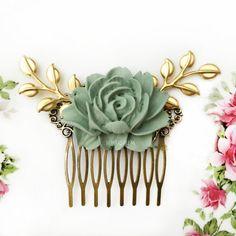 Sage Green Wedding Bridal Hair Comb Hair Slide by Jewelsalem