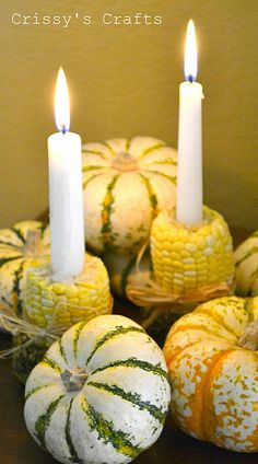 DIY Corn Candle Holder - Love using fall squash & vegetables for candle holders! Thanksgiving Crafts, Thanksgiving Decorations, Fall Crafts, Crafts For Kids, Diy Crafts, Thanksgiving Table, Fall Decorations, Diy Candles, Candle Jars