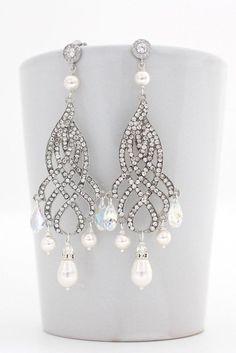 Chandelier Wedding Earrings, Pearl Chandelier Earrings, Long Wedding Earrings, Bridal Crystal Earrings, Art Deco Chandelier Earrings Bride