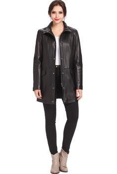 "BGSD Women's ""Rachel"" Lambskin Leather A-Line Coat. Check out this great style for $289.99 on Luxury Lane. Click on the image above to get a coupon code for 10% off on your next order."