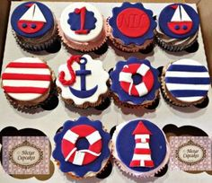 Nautical cupcakes toppers