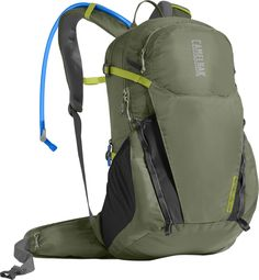 CamelBak Rim Runner 22 Crux Reservoir Hydration Pack, Lichen Green/Dark Citron, 2.5 L/85 oz. Crux delivers 20% more water per sip, with an ergonomic handle for easy refilling and an on/off lever to prevent leaks. Breathable air mesh back panel for a lightweight, comfortable fit. Load bearing hip belt with cargo has open mesh to maximize breathability and keep essentials within easy reach. Main compartment and separate essentials pocket organizes your lunch, gear and one day peak ascent...