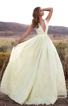 Prom Dresses,prom gown,tulle long prom dress,lace evening dress light yellow v neckline evening dresses for teens
