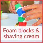 Foam blocks and shaving cream