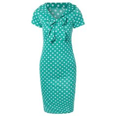 Preppy Bow Polka Dot Bodycon Dress, GREEN, 2XL in Vintage Dresses…