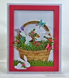 Easter Basket and Bunnies by kittie747 - Cards and Paper Crafts at Splitcoaststampers