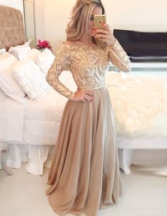 A-Line Illusion Jewel Long Sleeves Gold Chiffon Prom Dress with Lace Beading