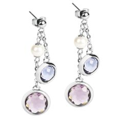 Catherine Earrings Earrings. 316L stainless steel, coloured mineral crystals and Swarovski® Elements pearls