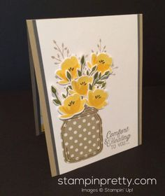 Jar of Love Stamp Set & Everyday Jars Framelits Dies get well card.  Mary Fish, Stampin' Up! Demonstrator.  1000+ StampinUp & SUO card ideas.  Read more http://stampinpretty.com/2016/11/inspired-by-color-jar-of-flowers-get-well-card.html
