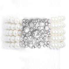Pearl and Rhinestone Vintage Bridal Bracelet