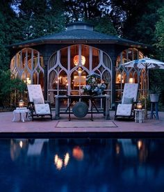 In its post Decorators Gone Wild, Garden Design takes a look at interior designers' personal gardens at Landscape Pleasures, an event held at the Parish Art Museum, in Southhampton, NY. Outdoor Rooms, Outdoor Gardens, Outdoor Living, Outdoor Decor, Outdoor Patios, Outdoor Lounge, Outdoor Furniture, Pool Cabana, My Pool