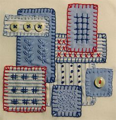 embroidery + patchwork page Sashiko Embroidery, Japanese Embroidery, Embroidery Applique, Cross Stitch Embroidery, Embroidery Patterns, Sewing Art, Sewing Crafts, Boro Stitching, Fabric Journals