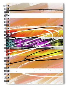 The route of color splattered. On a background of diffuse ocher-colored brushstrokes, the lines of color trace a road that catches the eye. paint of color Spiral Notebook Covers, Spiral Notebooks, Notebooks For Sale, Lined Page, Nature Paintings, Brush Strokes, Fine Art America, Eye, Creative