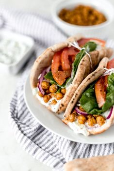 Spicy Chickpea Gyros is a simple and delicious Mediterranean inspired recipe that is full of flavor and contains a tasty tzatziki sauce. Vegetarian Gyro Recipe, Vegetarian Tacos, Vegetarian Dinners, Vegetarian Cooking, Healthy Meals, Healthy Food, Easy Meals, Pita Recipes, Kitchens