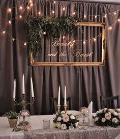 wesele w stylu Pięknej i Bestii - złoto, pudrowe kwiaty, stylizowane świeczniki, zegary Wedding Beauty, Beauty And The Beast, Candles, Beast, Candy, Candle Sticks, Candle