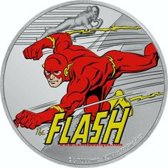 The Flash Justice League 1 oz silver coin Niue 2020 Justice League 1, Legal Tender, 60th Anniversary, 1 Oz, The Flash, Silver Coins, Dc Comics, Contrast, Logo