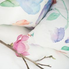 G night, little pretties 💕🌸💕   Featuring Gemma + Georgina decorative pillows by JOUE Design   Shop this look and more www.jouedesign.com   original artwork   watercolor   textile print   fabric   linen cotton   down feather   throw pillow   down feather   floral   botanical