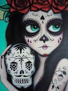 Catrinas🌷🕸 Sugar Skull Artwork, Sugar Skulls, Finger Painting, Pop Art, Penguin Tattoo, Colorful Skulls, Skull Sketch, Skulls And Roses, Day Of The Dead Art