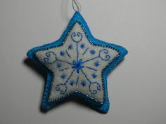 blue star felt Christmas ornament by nikkissglein on Etsy, $5.00