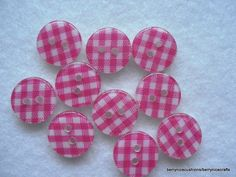 15mm Resin Buttons Pink Check Button Plaid Buttons Pink Gingham Buttons Pk 10 £1.25