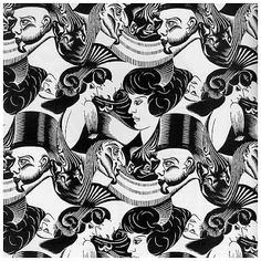 This tessellation by M. C. Escher plays with shapes to create the illusion of these heads. The darker faces, those upside-down, demon-looking things, are only noticeable if you take a second look.