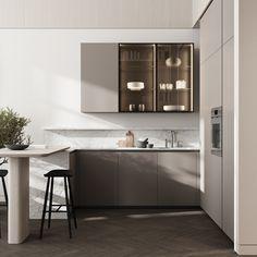 Kitchen & dining area #modernkitchen #kitchendesign #kitcheninterior #diningareadesign #diningareinterior #minimalism #architecture #minimalisticarchitecture #minimalisticinterior #ideasforkitchen Minimalist Design, Double Vanity, Modern, Sweet Home, Bathroom, Interior, House, Kitchens, Type