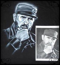 Fidel airbrush on fabric by Fernando Reyes www.reyesglass.com