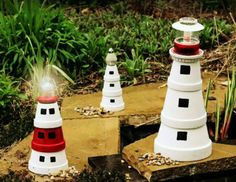 s 13 spectacular things to make for your yard using 1 solar lights, lighting, outdoor living, repurposing upcycling, These adorable terra cotta lighthouses Tin Can Lanterns, Garden Lanterns, Solar Lanterns, Solar Lights, Pots D'argile, Clay Pots, Clay Pot Crafts, Diy Clay, Glass Garden
