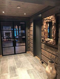 Lodge entrance and Reception Modern Lodge, Modern Rustic Homes, Cabin Homes, Log Homes, Cabin Interiors, Cabins And Cottages, Wooden House, The Ranch, My Dream Home
