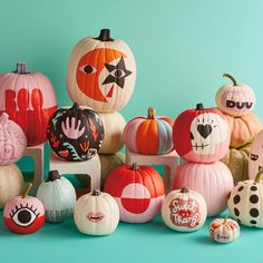 Creative Painted Pumpkin Ideas for Those Who Hate Carving - Halloween DIY, Halloween Tags, Halloween Inspo, Halloween House, Holidays Halloween, Halloween Pumpkins, Halloween Crafts, Happy Halloween, Modern Halloween Decor, Cute Halloween Decorations
