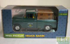 Ertl 1/25 1955 John Deere Pickup Truck Bank by Ertl. $24.99. Made of Die-Cast Metal. Free rolling wheels. 1/25 Scale. Detailed Replica. Locking Coin bank with key. Ertl 1/25 scale 1955 John Deere Pickup Truck Bank