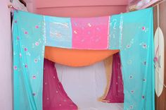 This would be the one, perfect colors (turquoise/aqua and peach/pink) Gypsy Wedding Upcycled Textiles Multicolor floral by IndianHippy