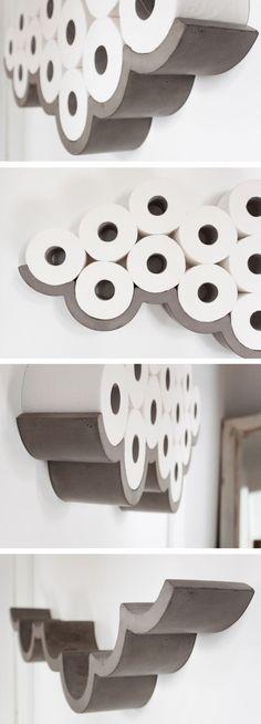 Great Concrete Cloud Shaped Toilet Paper Holder! Amazing! #product_design