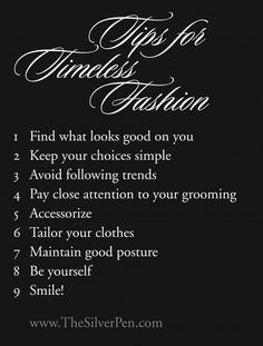 Tips for timeless fashion.