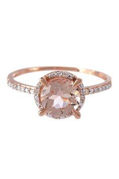 Two-Tone Diamond Trimmed Round Morganite Fashion Ring | HauteLook