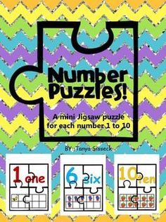 Number puzzles are a great activity for early learner math centers.  This product includes one 4-piece jigsaw puzzle for each number 1 through 10.  Each mini puzzle consists of a number, a number word, and corresponding ten frame.  The pictures on the puzzles are fun and bright, and your young learners will have a great time putting them together and taking them apart again!