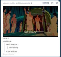 World history in one sentence. These white men are dangerous. Thank you Disney's Pocahontas, and thank you #tumblr .