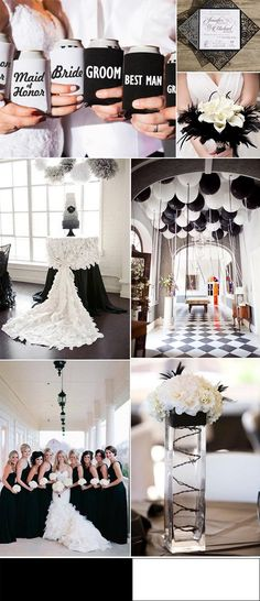 black and white country summer wedding ideas with can cooler favors