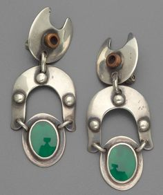Earrings | Sam Kramer and Charles Wendell.   Silver, copper and green stone.  ca. 1955