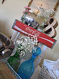 babys-breath-in-bottles  | food-buffet-decor | wooden coke box with flowers | vintage decor | vintage wedding arrangement by Southern Productions weddings & events