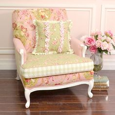Shabby Cottage Chic Large Patchwork Armchair Pink Sage White Roses French Style   eBay