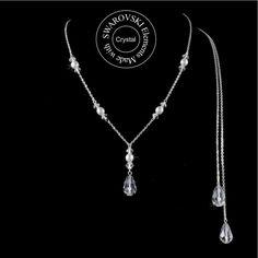 collier de dos composé d'une chaine en métal argenté, de perles et de gouttes de cristal Swarovski dans le dos.