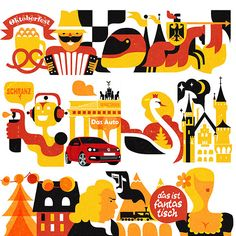 Cheerful Volkswagen Ads Feature Colorful Illustrations Of European Countries - DesignTAXI.com