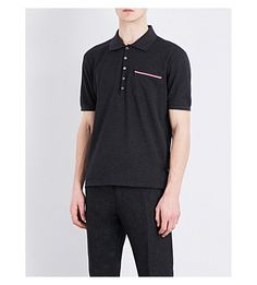THOM BROWNE - Stripe-detailed cotton-piqué polo shirt | Selfridges.com
