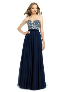 A-Line/Princess Strapless Sweetheart Floor-Length Chiffon Prom Dress With Sequins
