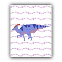 Dinosaur art, Nursery art print, Dino Poster,  Decor for kids rooms, Play room decor,  Charonosaurus over wave background, 11x14, Dinosaur Prints, Dinosaur Art, Waves Background, Playroom Decor, Nursery Art, Kids Rooms, Moose Art, Art Prints, Handmade Gifts