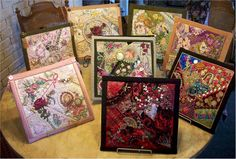 Older Rose: gerry krueger  Beautiful Crazy Quilt Squares.  She has so many gorgeous items.  <3 Someday I hope to make a beautiful Crazy Quilt with my beautiful Daughter Farrin <3