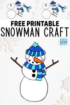 Do you want to build a frosty the snowman with your kids? Here's a simple cut Printable Crafts, Free Printable, Printable Templates, Printables, Winter Crafts For Kids, Diy For Kids, Valentine's Day Paper Crafts, Paper Snowflake Template, Snowman Coloring Pages