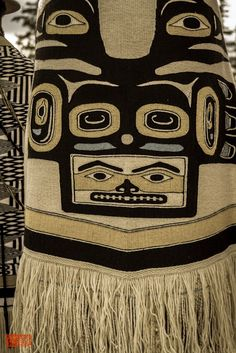 Tlingit Chilkat blanket. My cousin Maria Miller used to make these, they are made from mountain goat hair they would gather in the mountains and take a year to make.